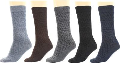 Maroon Men's Solid Mid-calf Length Socks(Pack of 5)