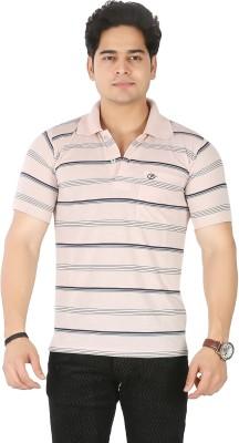 Awack Striped Men's Polo Neck Pink T-Shirt