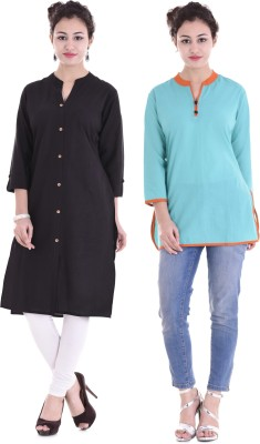 Blink Star Casual Solid Women Kurti(Pack of 2, Black, Blue)
