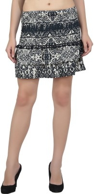 Jainsons Printed Women A-line Black Skirt