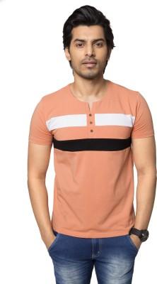 ZEYO Striped Men's Round Neck Orange T-Shirt
