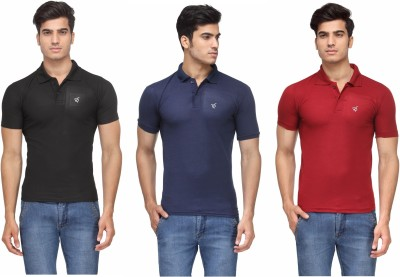 2bee383a2e3 77% OFF on Rico Sordi Solid Men s Polo Neck Multicolor T-Shirt(Pack of 3)  on Flipkart