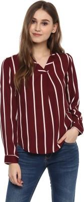 HARPA Casual Full Sleeve Striped Women Maroon Top