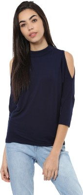 Harpa Casual 3/4th Sleeve Solid Women's Blue Top