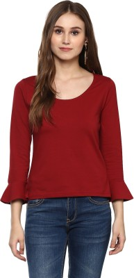 Harpa Casual 3/4th Sleeve Solid Women's Maroon Top