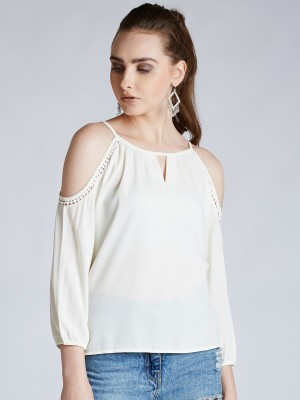 Harpa Casual 3/4th Sleeve Solid Women's White Top