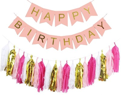 AMFIN Happy Birthday Banner Bunting Flag with Matching Tassel / Happy birthday set / Birthday decorations items combo Banner(32 ft, Pack of 1)