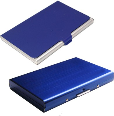Stealodeal Full Blue Metal Limited Edition With Stainless Steel 6 Card Holder(Set of 2, Black, Blue)
