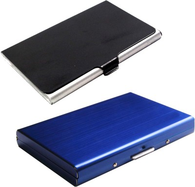 Stealodeal Full Blue Metal Limited Edition With Black Stainless Steel 6 Card Holder(Set of 2, Black, Blue)
