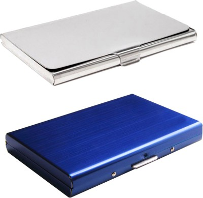 Stealodeal Full Blue Metal Limited Edition With Silver Stainless Steel 6 Card Holder(Set of 2, Blue, Silver)