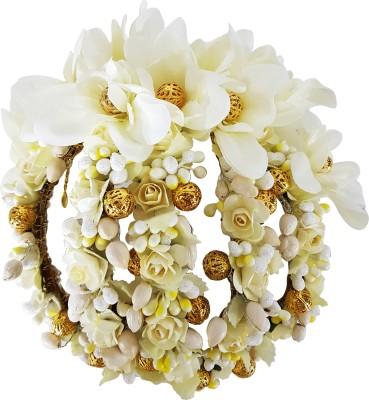 Majik Artificial Hair Gajra Flower For Bridal Hair Bharatnatyam Kuchipudi Dance Hair Accessories For Women / Hair Accessories For Women Weddings / Bridal Hair Accessories Bun(White, Gold)