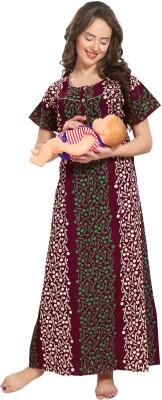 AV2 Women Maternity/Nursing Nighty(Multicolor)