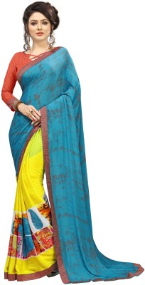 The Fashion Outlets Printed, Dyed Bollywood Crepe, Silk Saree(Yellow, Blue)