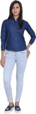 Ladybird Women Solid Casual Denim Blue Shirt
