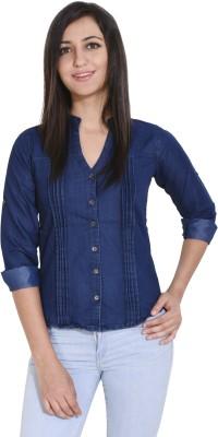 Ladybird Women Solid Formal Blue Shirt