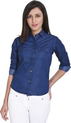 Trendyfrog Women Solid Formal Blue Shirt