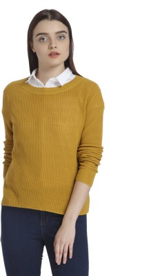 Mustard Solid Round Neck Casual Women Yellow Sweater