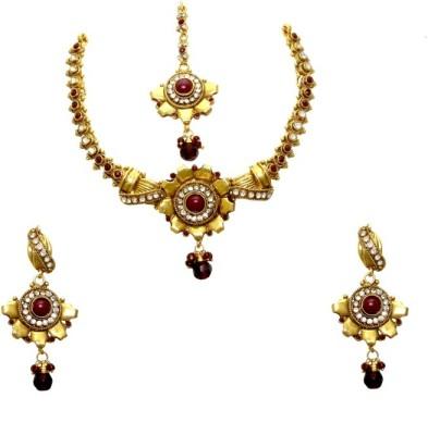 Aarnaa Copper Jewel Set(Maroon) at flipkart