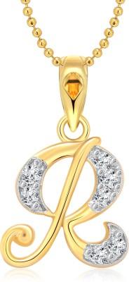 "Vighnaharta \""R\"" 18K Yellow Gold Cubic Zirconia Alloy Pendant"
