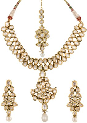 Sri Shringarr Fashion Copper Jewel Set(Gold, White) at flipkart