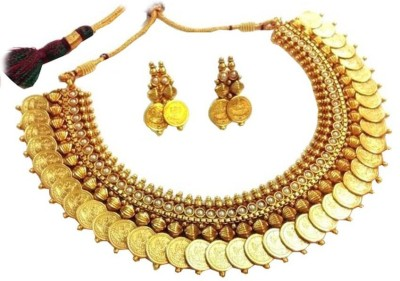 Jewels Guru Alloy Jewel Set(Gold, White) at flipkart