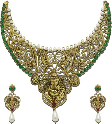 Zaveri Pearls Zinc Jewel Set(Green, Red, White) at flipkart
