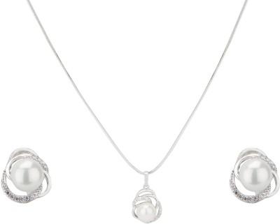 Swiss Design Brass Jewel Set(Silver) at flipkart