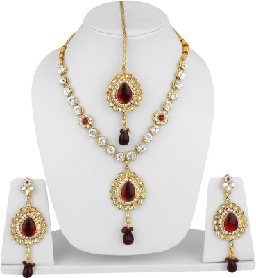 Styylo Fashion Alloy Jewel Set(Maroon, Gold) at flipkart