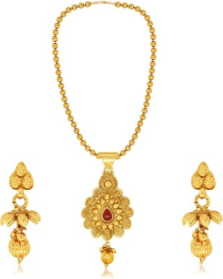 Spargz Brass Jewel Set(Red) at flipkart