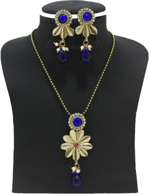 Zaveri Pearls Alloy Jewel Set(Blue, Pink) at flipkart