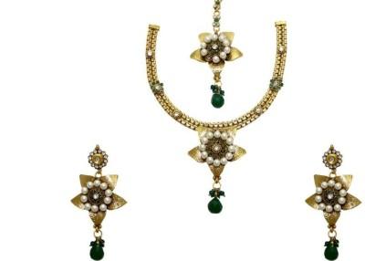 Aarnaa Copper Jewel Set(Green) at flipkart