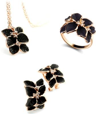 University Trendz Alloy Jewel Set(Black)