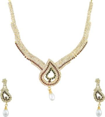 Aakshi Alloy, Metal Jewel Set(Red, Green, Gold) at flipkart