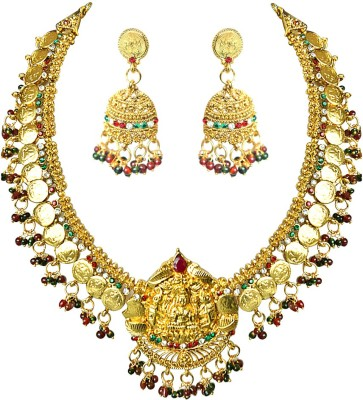 Surat Diamond Metal Jewel Set(Red, Green, Gold) at flipkart