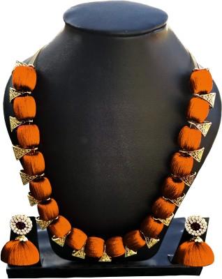 Jyotis Creations Silk Dori Jewel Set(Orange) at flipkart