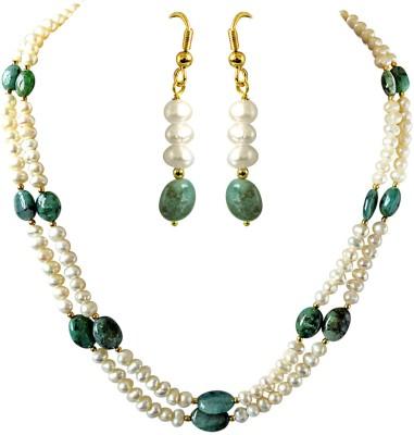 Surat Diamond Metal Jewel Set(Green, White, Gold) at flipkart