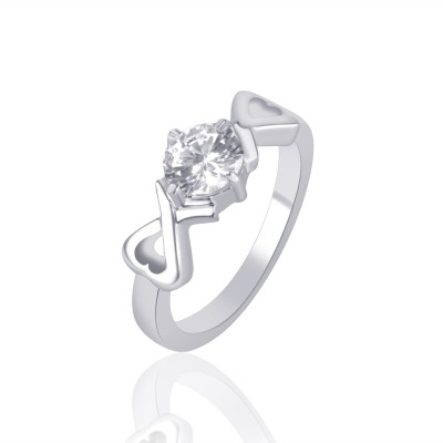 VK Jewels Two Heart Solitaire Rhodium Plated Alloy Cubic Zirconia Ring