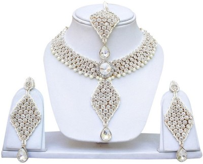 Angel In You Alloy Jewel Set(White, Gold) at flipkart