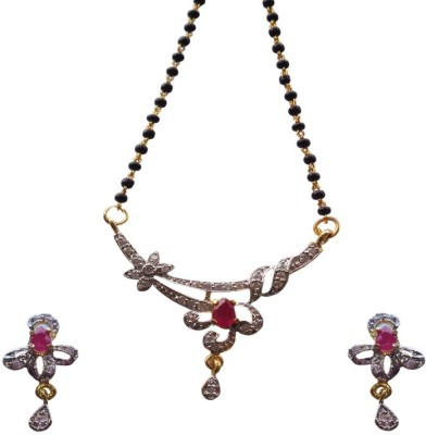 Kundaan Alloy Jewel Set(Red, Gold)