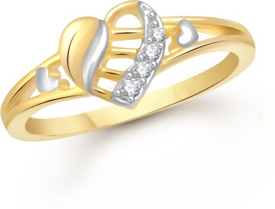 VK Jewels Delight Heart Alloy Cubic Zirconia Yellow Gold Plated Ring at flipkart