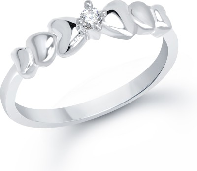 VK Jewels Creative Heart Alloy Cubic Zirconia Rhodium Plated Ring