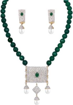 A To Z Creations Copper, Brass Jewel Set(Green) at flipkart