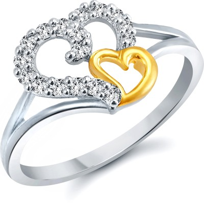 Vighnaharta White Coulpe Heart Alloy Cubic Zirconia Gold Plated Ring at flipkart