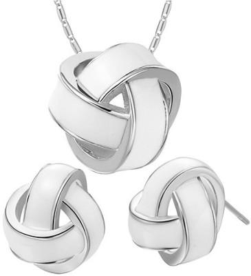 Silver Shoppee Alloy Jewel Set(Silver, White) at flipkart