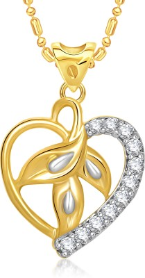 VK Jewels Beautiful Leaf Pattern Gold-plated Cubic Zirconia Brass, Alloy Pendant Set
