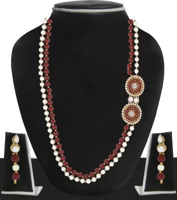 Zaveri Pearls Zinc Jewel Set(Red, White) at flipkart