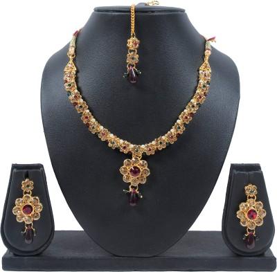 Luxor Brass Jewel Set(Maroon) at flipkart