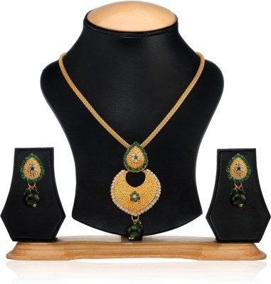 Oleva Zinc Jewel Set(Gold, Green) at flipkart