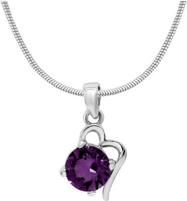 Mahi Purple Victorian Heart Rhodium Swarovski Crystal Alloy Pendant