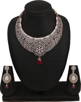 Sri Shringarr Fashion Brass Jewel Set(Gold, White, Red) at flipkart